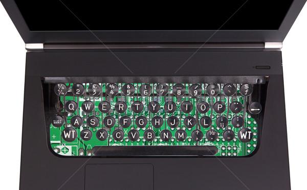 Laptop vecchio stile macchina da scrivere tasti isolato bianco Foto d'archivio © michaklootwijk
