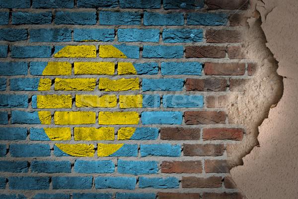 暗い レンガの壁 石膏 パラオ テクスチャ フラグ ストックフォト © michaklootwijk