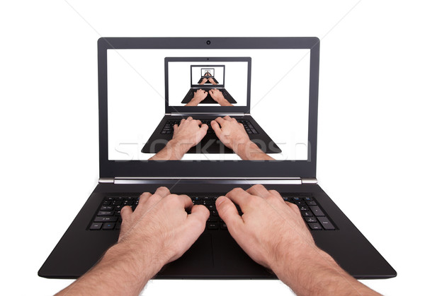 Man working on laptop, visual magic Stock photo © michaklootwijk