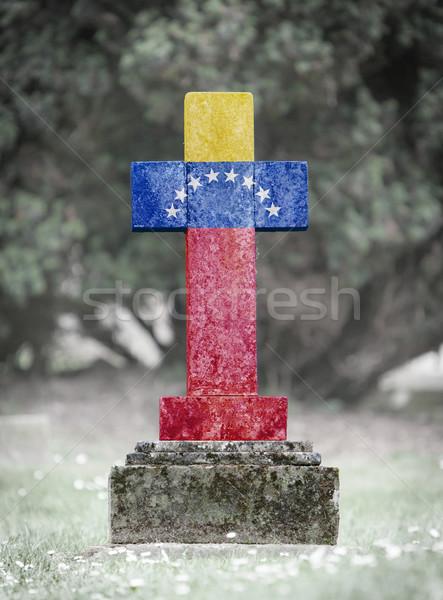Sírkő temető Venezuela öreg viharvert fű Stock fotó © michaklootwijk