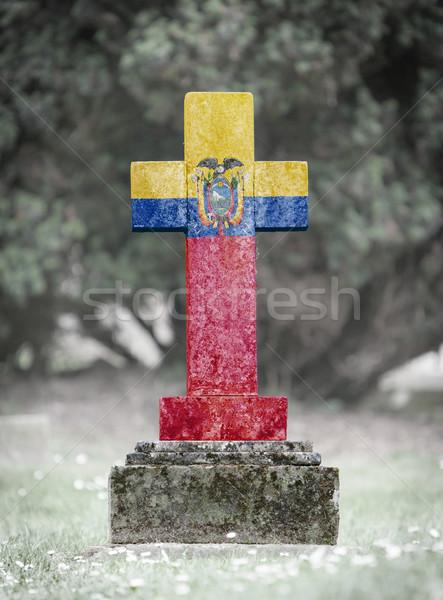 Lápide cemitério Equador velho resistiu bandeira Foto stock © michaklootwijk