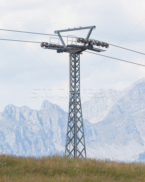 Photo stock: Pôle · ski · ascenseur · printemps · prairie · nuages
