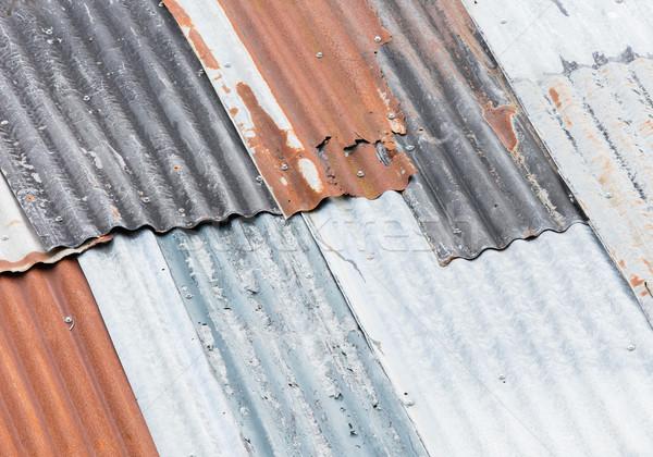 старые ржавые гальванизированный крыши необходимость текстуры Сток-фото © michaklootwijk