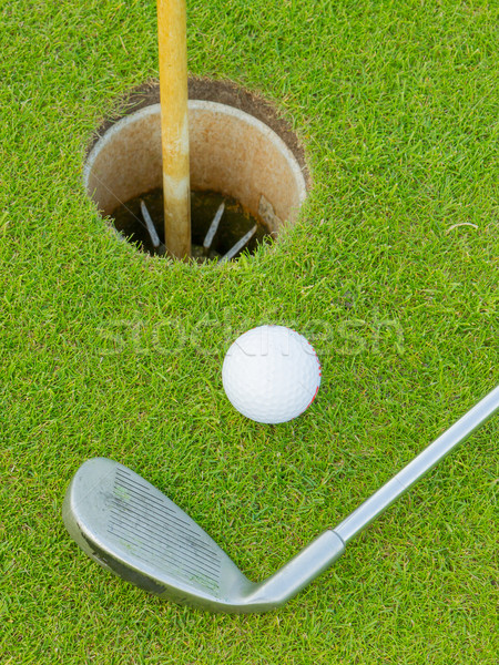 Golf hole with ball and putt Stock photo © michaklootwijk