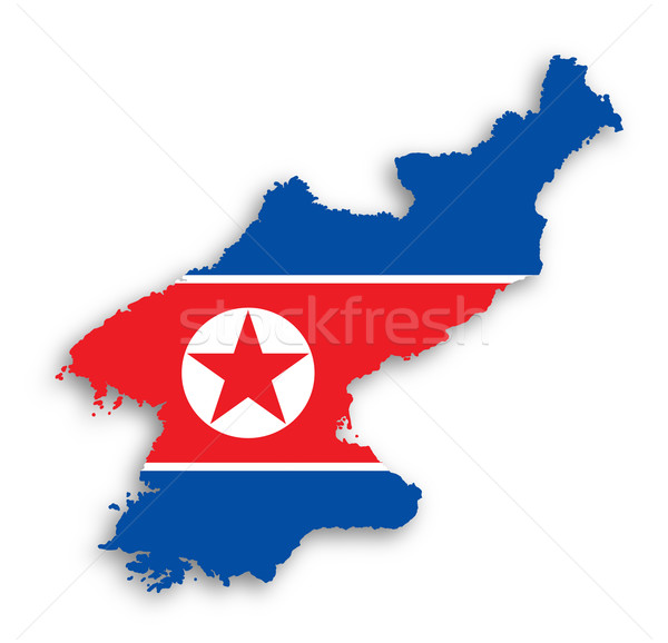 Map of North Korea with flag inside Stock photo © michaklootwijk