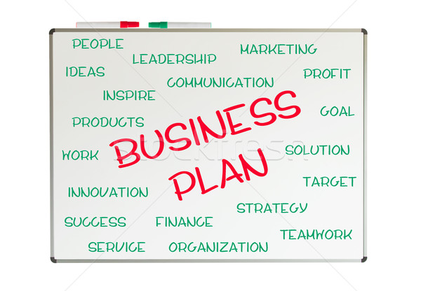 Business Plan Wort-Wolke geschrieben Tafel Stift Stock foto © michaklootwijk