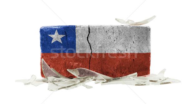 Tégla törött üveg erőszak zászló Chile fal Stock fotó © michaklootwijk