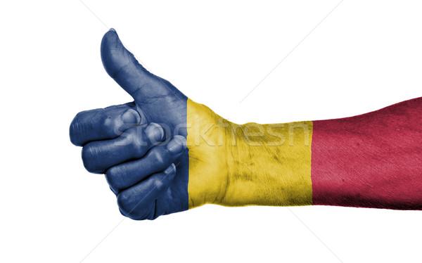 Stockfoto: Oude · vrouw · teken · geïsoleerd · vlag · Tsjaad