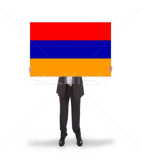 ビジネスマン ビッグ カード フラグ アルメニア ストックフォト © michaklootwijk