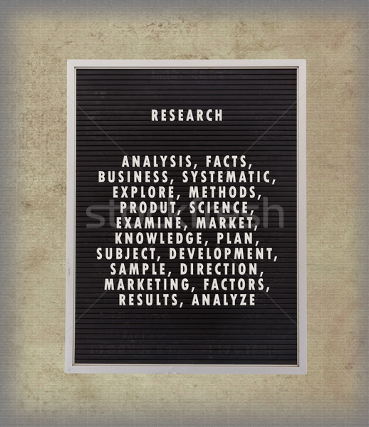 Research concept in plastic letters on very old menu board Stock photo © michaklootwijk