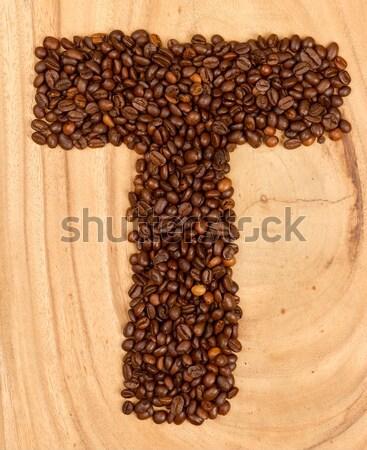ünlem işareti kahve çekirdekleri yalıtılmış ahşap gıda kahve Stok fotoğraf © michaklootwijk