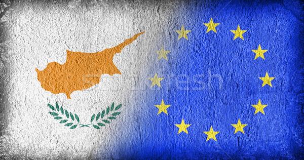 Кипр Евросоюз флагами окрашенный треснувший конкретные Сток-фото © michaklootwijk