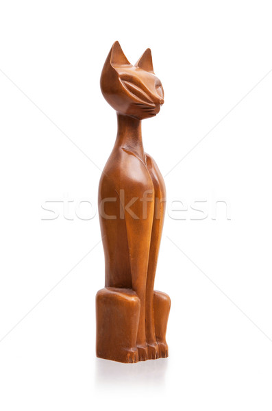 Old wooden statue of a cat Stock photo © michaklootwijk