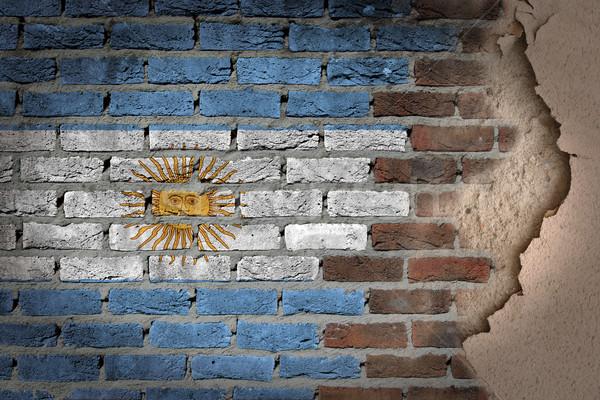 Stock fotó: Sötét · téglafal · tapasz · Argentína · textúra · zászló