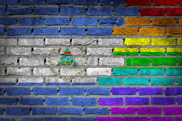 Escuro parede de tijolos direitos Nicarágua textura bandeira Foto stock © michaklootwijk