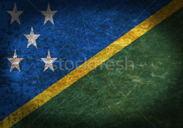 Oude roestige metaal teken vlag Solomon Eilanden Stockfoto © michaklootwijk