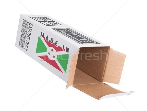 Exportar produto Burundi papel caixa Foto stock © michaklootwijk