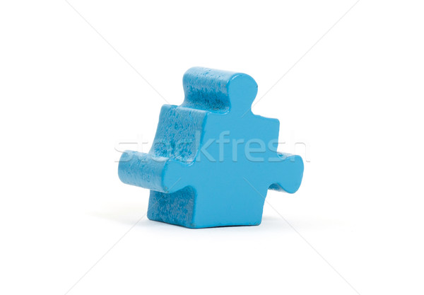 Nagy kirakós játék darab izolált fehér kék Stock fotó © michaklootwijk