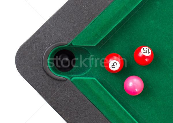 Snooker golyók zöld asztal sport medence Stock fotó © michaklootwijk