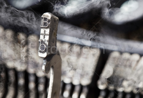 B hammer - old manual typewriter - mystery smoke Stock photo © michaklootwijk