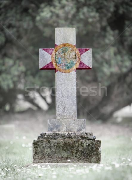 Lápide cemitério Flórida velho resistiu bandeira Foto stock © michaklootwijk