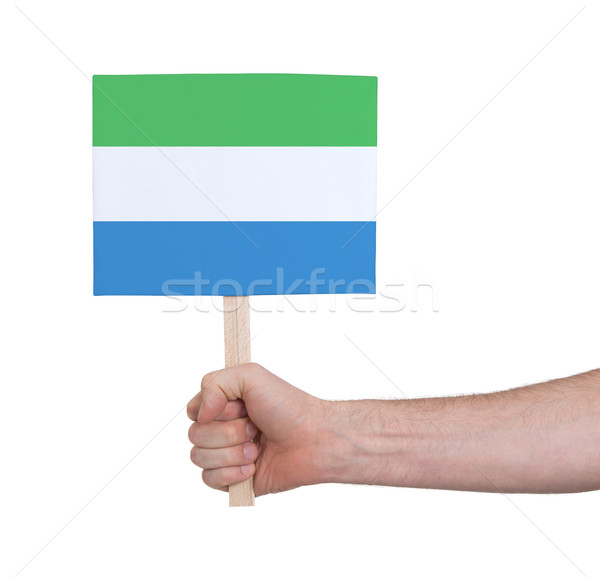 Hand holding small card - Flag of Sierra Leone Stock photo © michaklootwijk