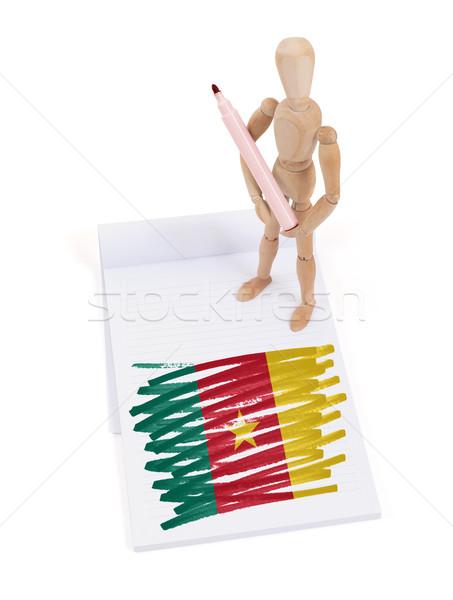 Manekin rysunek Kamerun banderą papieru Zdjęcia stock © michaklootwijk
