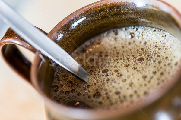 Cup of black coffee - Selective focus Stock photo © michaklootwijk