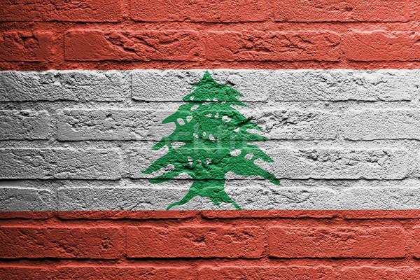 Muur schilderij vlag Libanon geïsoleerd verf Stockfoto © michaklootwijk