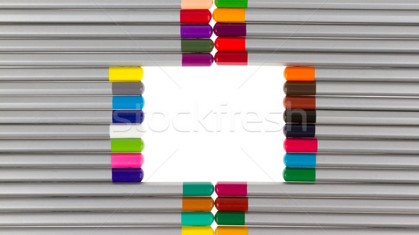 Many different color pencils, square Stock photo © michaklootwijk