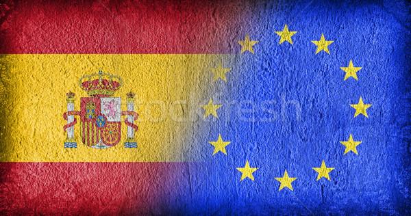 スペイン eu フラグ 描いた ひびの入った 具体的な ストックフォト © michaklootwijk