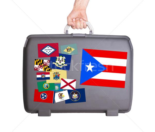 ストックフォト: 中古 · プラスチック · スーツケース · ステッカー · プエルトリコ