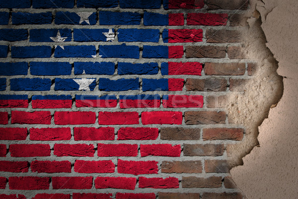 Escuro parede de tijolos gesso Samoa textura bandeira Foto stock © michaklootwijk