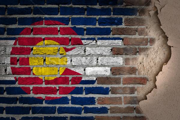 темно кирпичная стена штукатурка Колорадо текстуры флаг Сток-фото © michaklootwijk