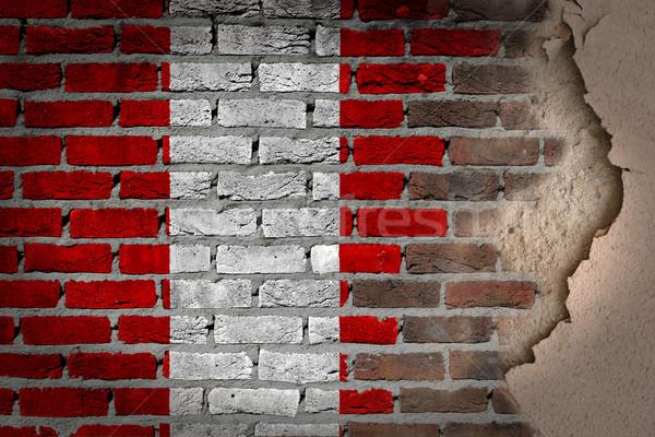 Oscuro pared de ladrillo yeso Perú textura bandera Foto stock © michaklootwijk