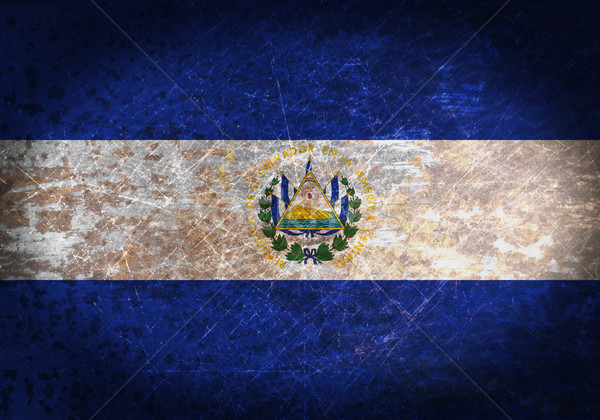Oude roestige metaal teken vlag El Salvador Stockfoto © michaklootwijk