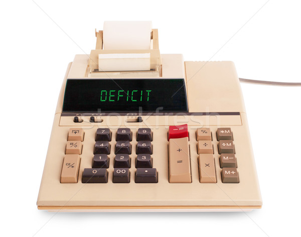 Oude calculator tekort tonen tekst display Stockfoto © michaklootwijk