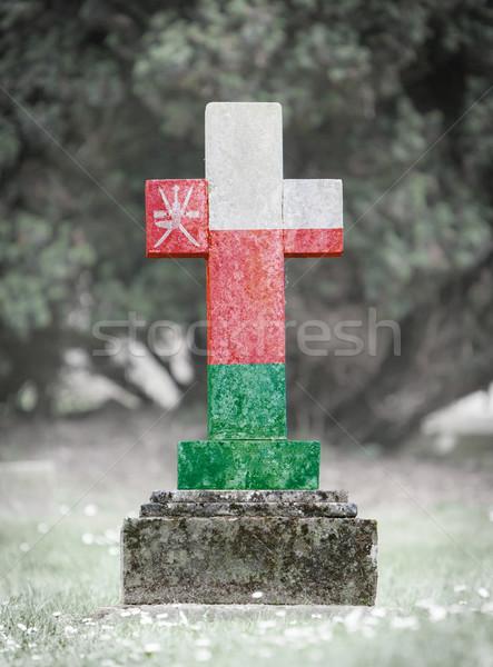 Lápida sepulcral cementerio Omán edad capeado bandera Foto stock © michaklootwijk