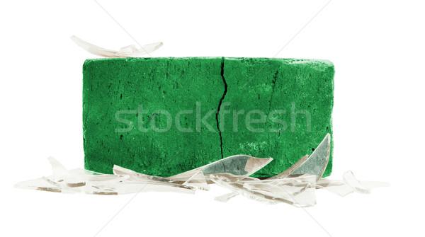 Сток-фото: кирпичных · битое · стекло · насилия · флаг · стены · стекла