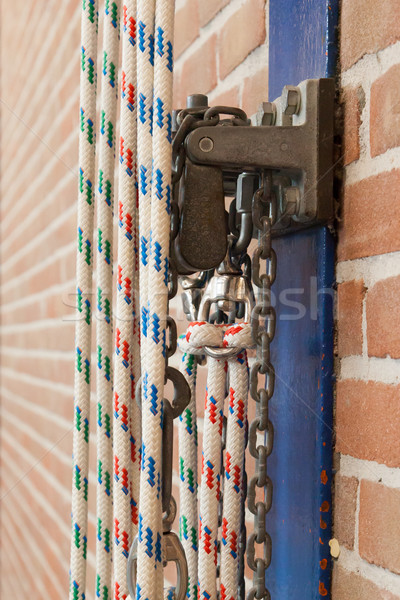 Stock photo: Ropes in an old school gym