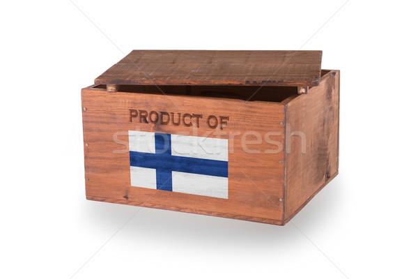 Stock fotó: Fából · készült · láda · izolált · fehér · termék · Finnország