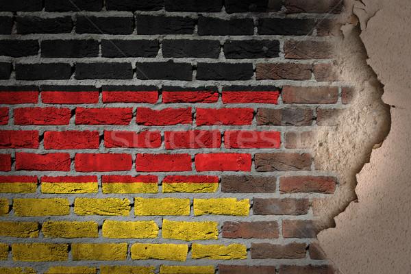 Sombre mur de briques plâtre Allemagne texture pavillon Photo stock © michaklootwijk