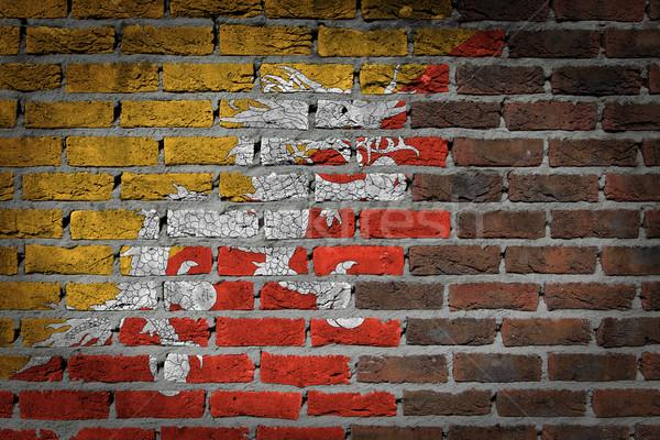 Donkere muur Bhutan textuur vlag geschilderd Stockfoto © michaklootwijk