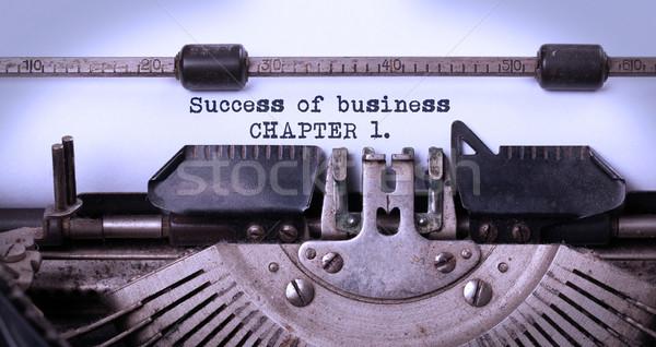 Vintage edad máquina de escribir éxito negocios Foto stock © michaklootwijk