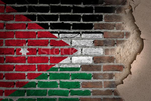 Sötét téglafal tapasz Jordánia textúra zászló Stock fotó © michaklootwijk
