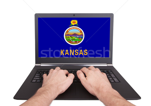 Hands working on laptop, Kansas Stock photo © michaklootwijk