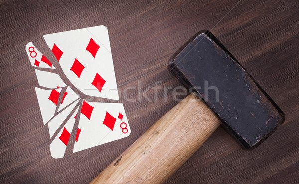 Kalapács törött kártya nyolc gyémántok klasszikus Stock fotó © michaklootwijk