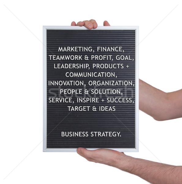 Estrategia de negocios plástico cartas edad menú bordo Foto stock © michaklootwijk