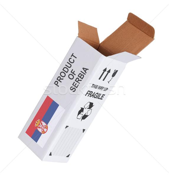 Exportar produto Sérvia papel caixa Foto stock © michaklootwijk