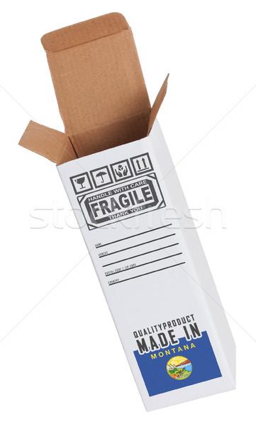 Exportar produto Montana papel caixa Foto stock © michaklootwijk